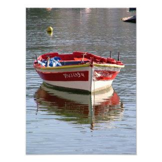 Boat in the port photo print