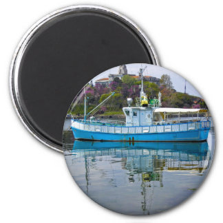 Boat in the sea 2 inch round magnet