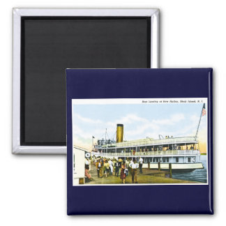 Boat Landing at New Harbor, Block Island, R.I. Square Magnet