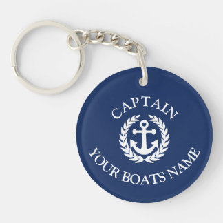 Boat name and captains nautical anchor Double-Sided round acrylic keychain