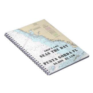 Boat Name FL Gulf Coast Nautical Chart Ship's Log Notebooks