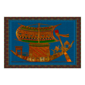 Boat of Reeds Egyptian Folk Art Poster