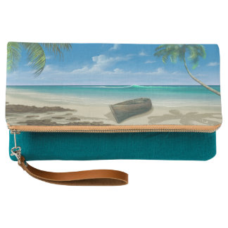Boat on a Tropical Island Paradise Sandy Beach Clutch