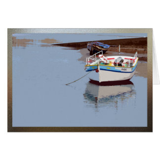 Boat on calm water in Milfontes, Portugal Card
