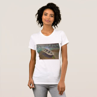 Boat on Harbor Oil Painting Reproduction T-Shirt