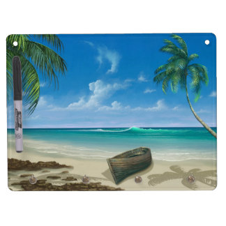 Boat on Island Tropical Paradise Blue Sand Beach Dry Erase Board With Keychain Holder