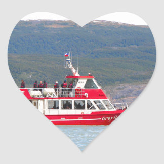 Boat on Lago Grey, Patagonia, Chile Heart Sticker