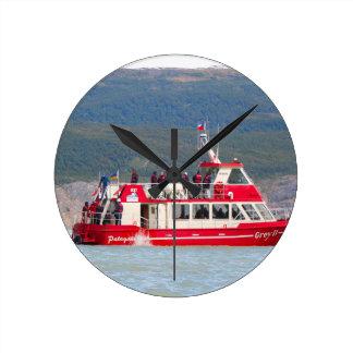 Boat on Lago Grey, Patagonia, Chile Round Clock