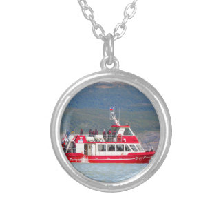 Boat on Lago Grey, Patagonia, Chile Silver Plated Necklace