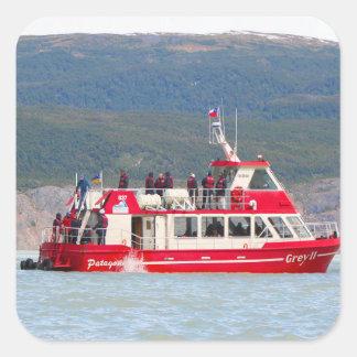 Boat on Lago Grey, Patagonia, Chile Square Sticker