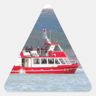 Boat on Lago Grey, Patagonia, Chile Triangle Sticker