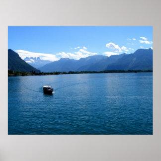 Boat on Lake Geneva Poster