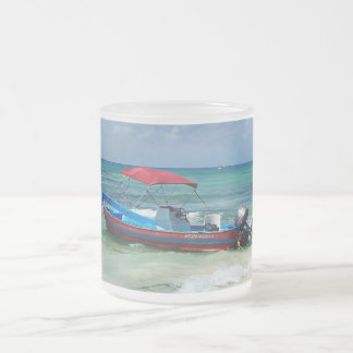 Boat on Playa del Carmen, Mexico Frosted Glass Coffee Mug
