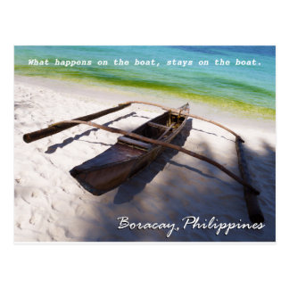 Boat on the Beach Boracay Philippines Postcard