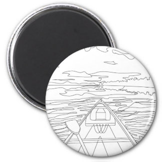 Boat on the lake 2 inch round magnet