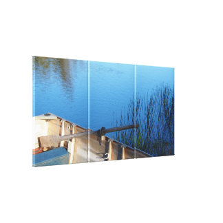 Boat on the lake 3-panel canvas print