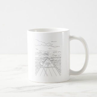 Boat on the lake coffee mug
