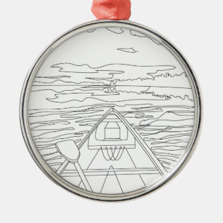 Boat on the lake metal ornament