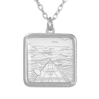 Boat on the lake silver plated necklace