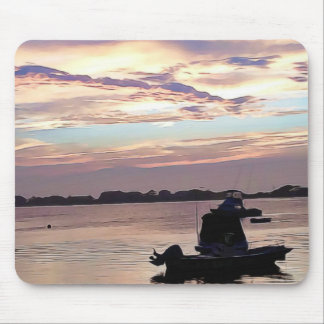 Boat on the Ocean at Sunset Mouse Pad