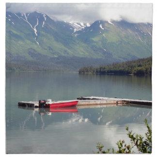 Boat on Trail Lake, Alaska Cloth Napkin
