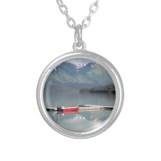 Boat on Trail Lake, Alaska Silver Plated Necklace