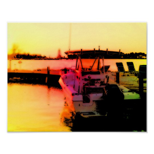 Boat on Tranquillity Bay Poster