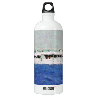 Boat painting water bottle