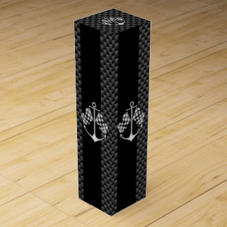 Boat Racing Nautical in Black Carbon Fiber Style Wine Bottle Box