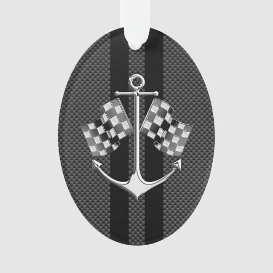 Boat Racing Nautical in Black Carbon Fibre Style Ornament