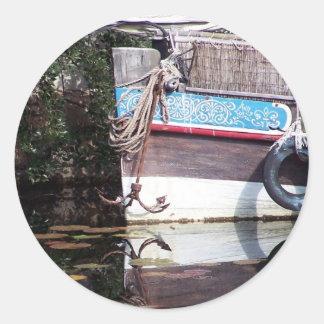 boat reflection round sticker