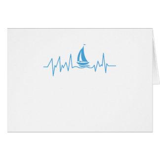 Boat Sailing Gift Heartbeat Funny Sailboat Card