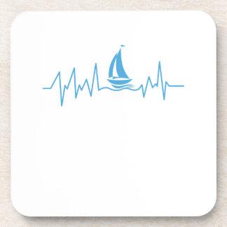 Boat Sailing Gift Heartbeat Funny Sailboat Coaster