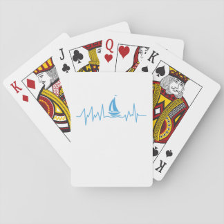Boat Sailing Gift Heartbeat Funny Sailboat Playing Cards