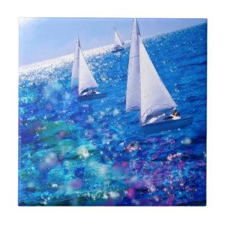 Boat, sea and corals ceramic tile