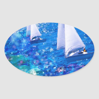 Boat, sea and corals oval sticker