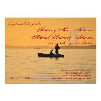 Boat Silhouette Couple Lake Wedding Invitations