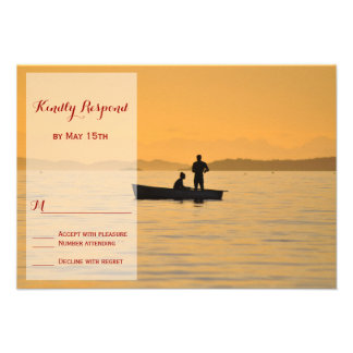 Boat Silhouette Couple Lake Wedding RSVP Cards
