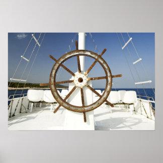 Boat steering wheel poster