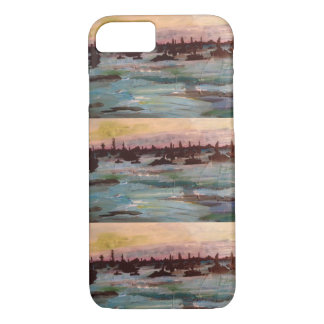 Boat sunset paintings iPhone 7 case