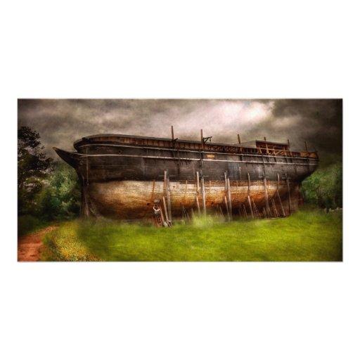 Boat - The construction of Noah's Ark Custom Photo Card