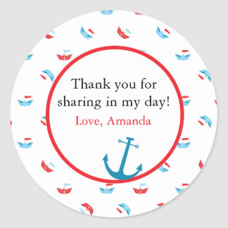 Boat Theme Favor Sticker