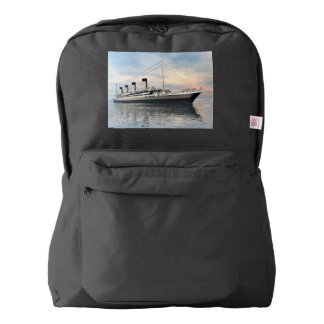 boat_titanic_close_water_waves_sunset_pink_standar backpack