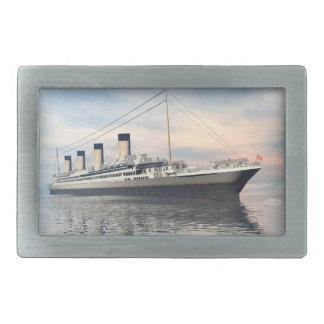 boat_titanic_close_water_waves_sunset_pink_standar belt buckle