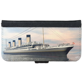 boat_titanic_close_water_waves_sunset_pink_standar iPhone 6 wallet case