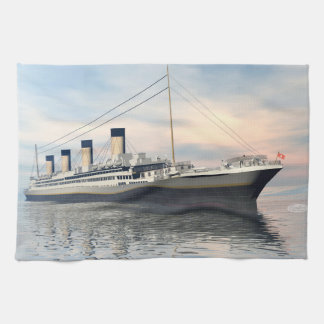 boat_titanic_close_water_waves_sunset_pink_standar kitchen towel