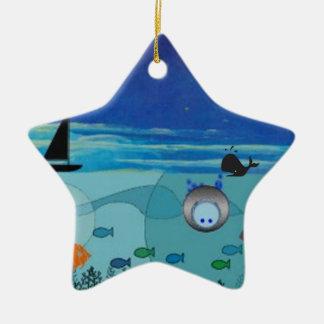 Boat, Whale, diver, fish ocean scene Ceramic Ornament