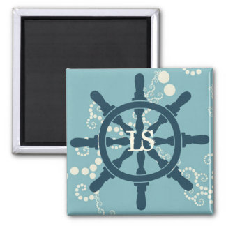 Boat Wheel Square Magnet