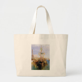 boat without sails large tote bag