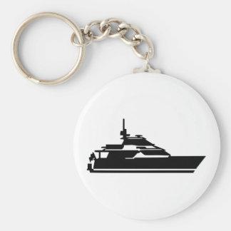 Boat - yacht basic round button keychain